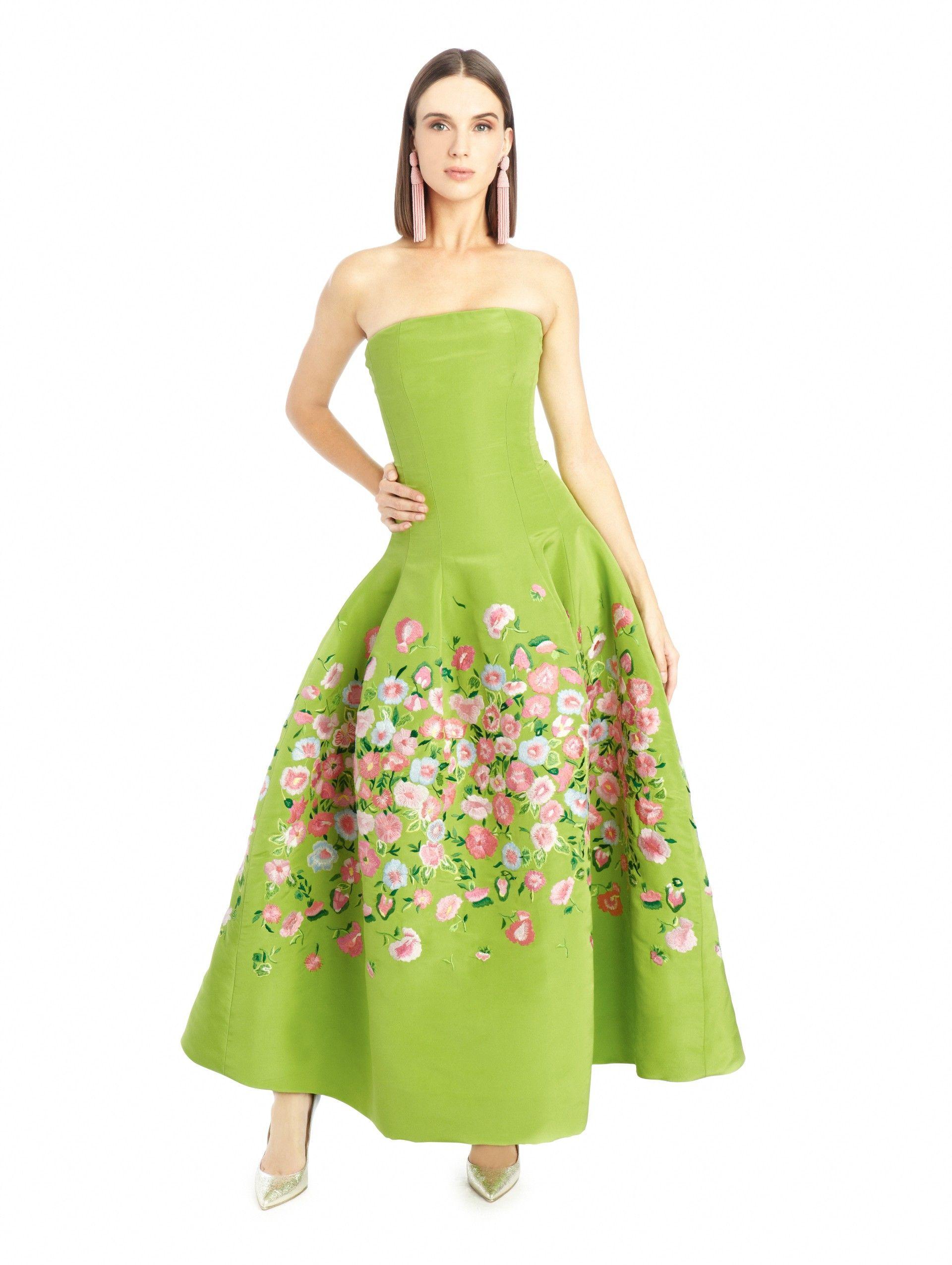 Oscar De La A Poppy Embroidered Silk Faille Tea Length Gown
