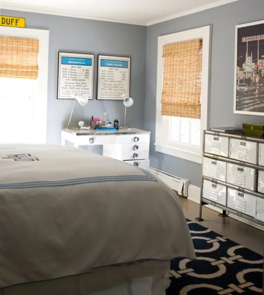 At Home In Fairfield County Lara Spencer Chic Boy S Bedroom With Steel Blue Walls Paint Color And Crisp White