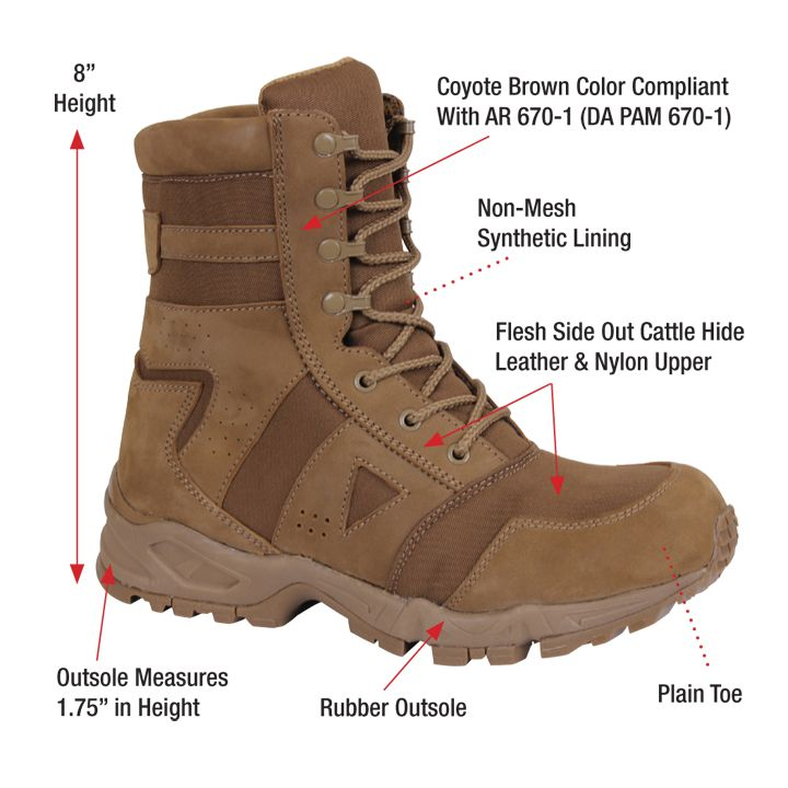 Rothco Ar 670 1 Coyote Brown Forced Entry Tactical Boot Tactical Boots Military Tactical Boots Boots