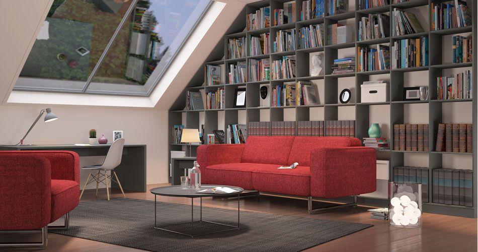 Bücherregal wand schräg  Bücherregal mit seitlicher Schräge unter einer Dachschräge im Dekor ...