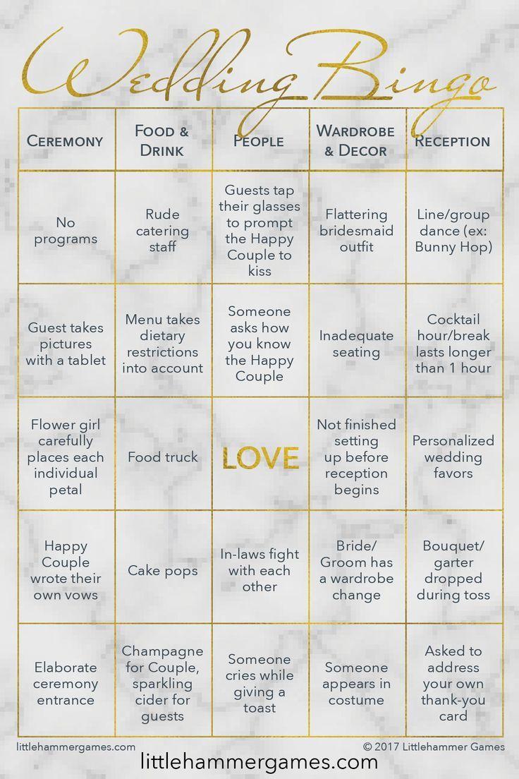 wedding bingo  gold marble printable game cards  wedding