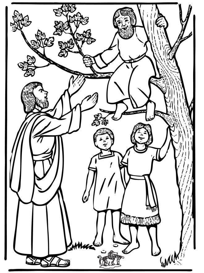 bible coloring pages new testament zacchaeus and jesus - Jesus Zacchaeus Coloring Page