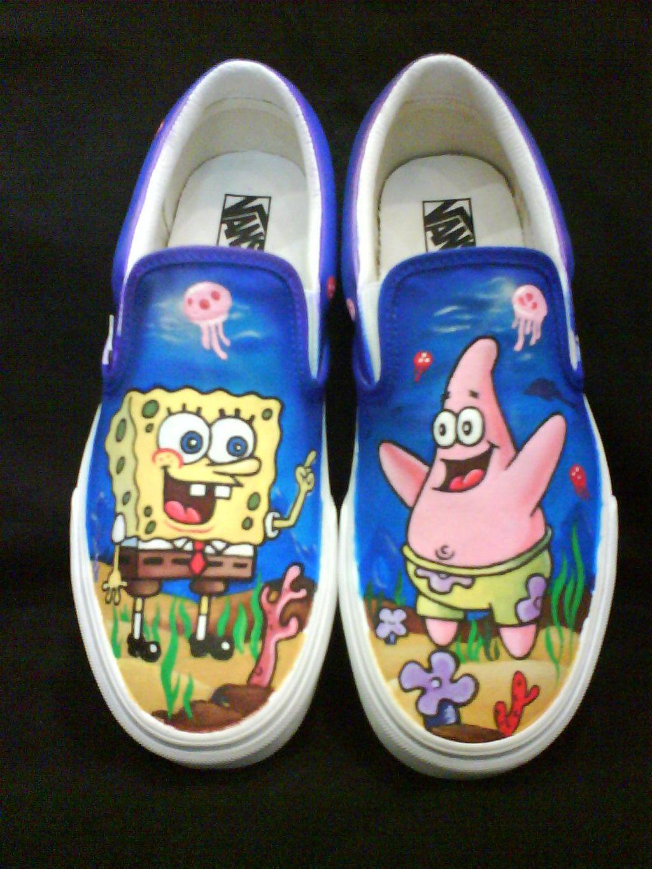 2d6d66976de12 Sponge Bob and Patrick | Shoes in 2019 | Cool vans shoes, Painted ...