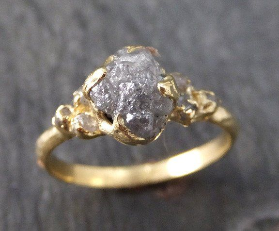 Raw Diamond 18k gold Engagement Ring Rough Gold Wedding Ring diamond  Wedding Ring Rough Diamond Ring 57dec2a501