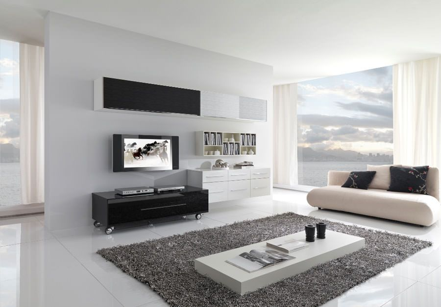 idee per arredare il soggiorno in bianco e nero n.03 | arredare ... - Arredare In Bianco E Nero