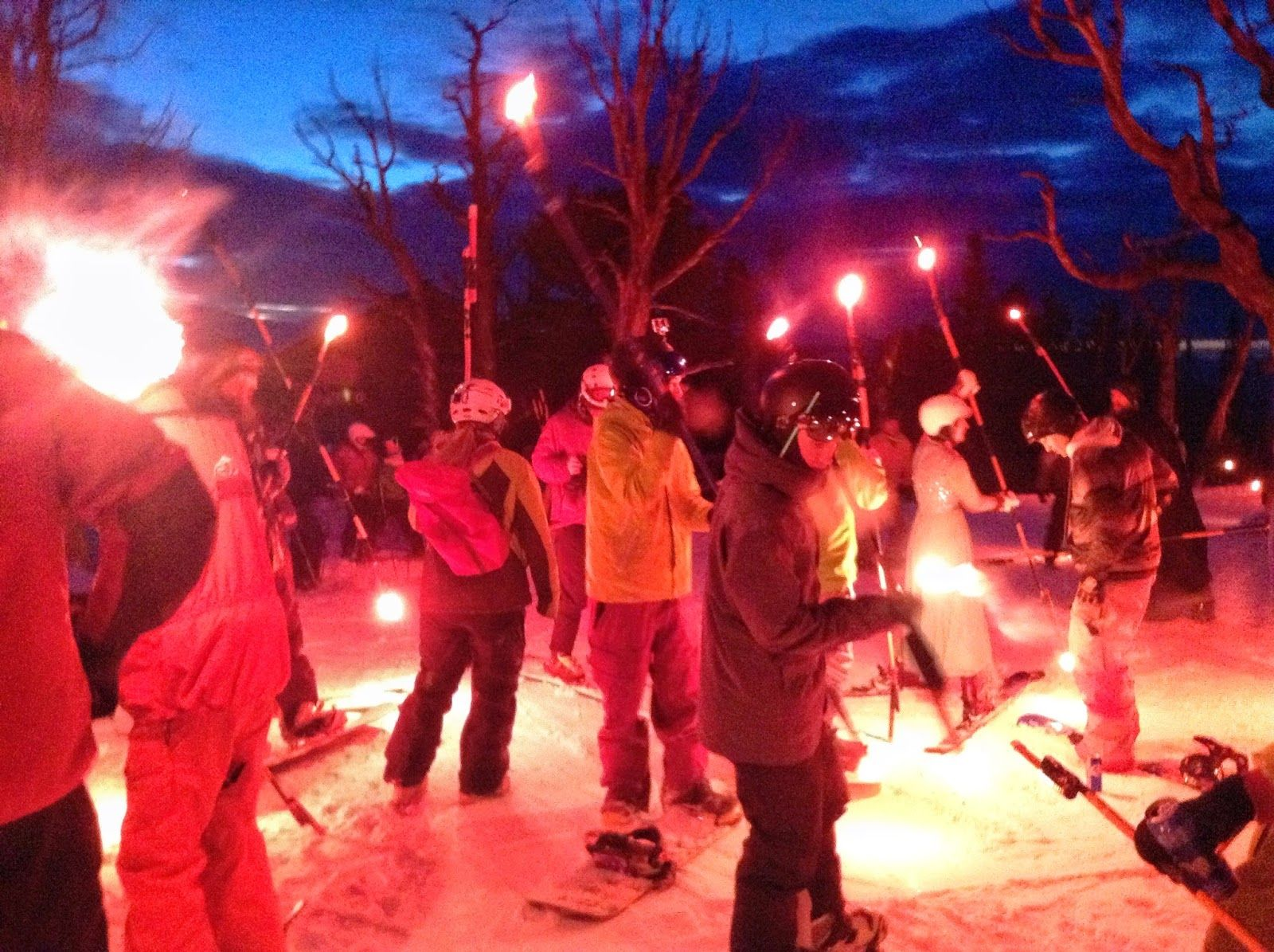 Torches lit, ready to descend! Red Lodge Mountain, Winter Carnival 2015