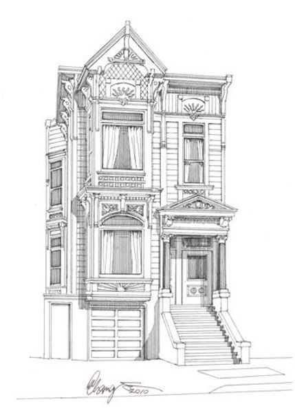 victorian houses san francisco black white drawing google search
