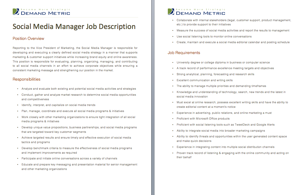 Social Media Manager Job Description | Pin By Demand Metric On Demand Tools Social Media Management