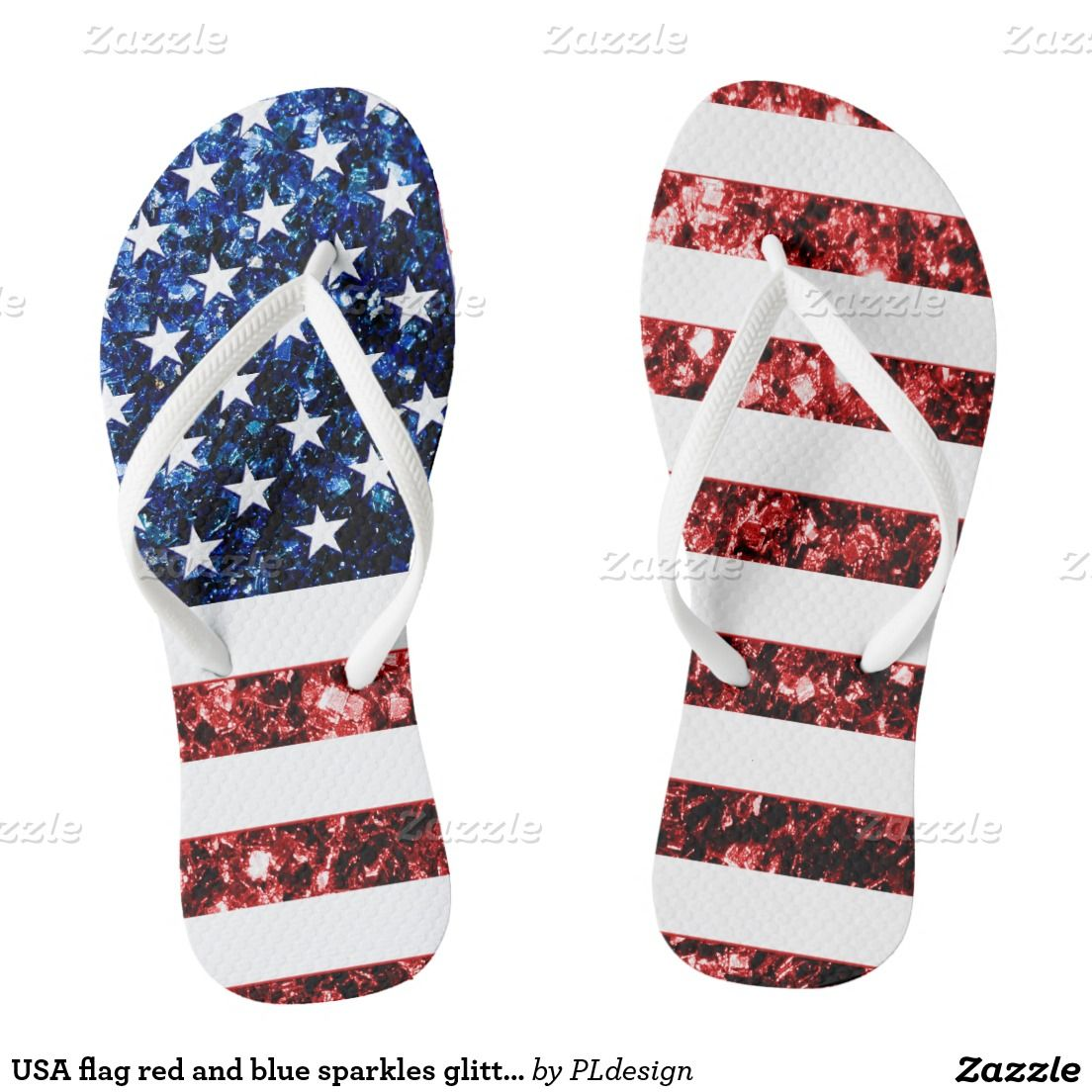 ef64f638005d3 USA flag red and blue sparkles glitters Flip Flops by  PLdesign  4thofJuly   USASparkles  SparklesGift --- 17.76% OFF ALL ORDERS til 07 04 2015 with  Code  ...