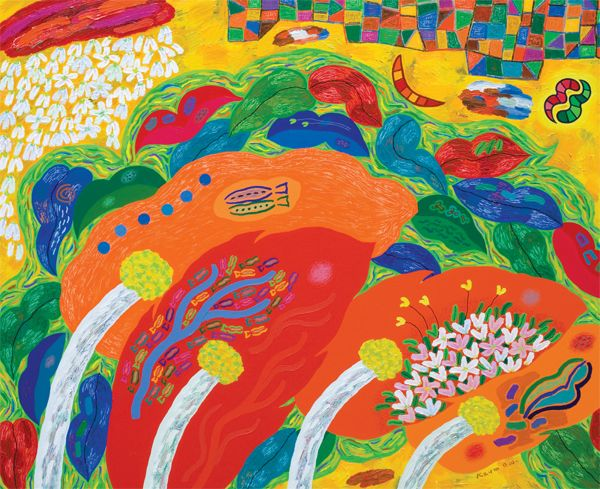 금동원 KEUM, Dong-Won / The forest of thought-the tree, river of leaves / 162 x 130.3cm / Acrylic on canvas / 2011