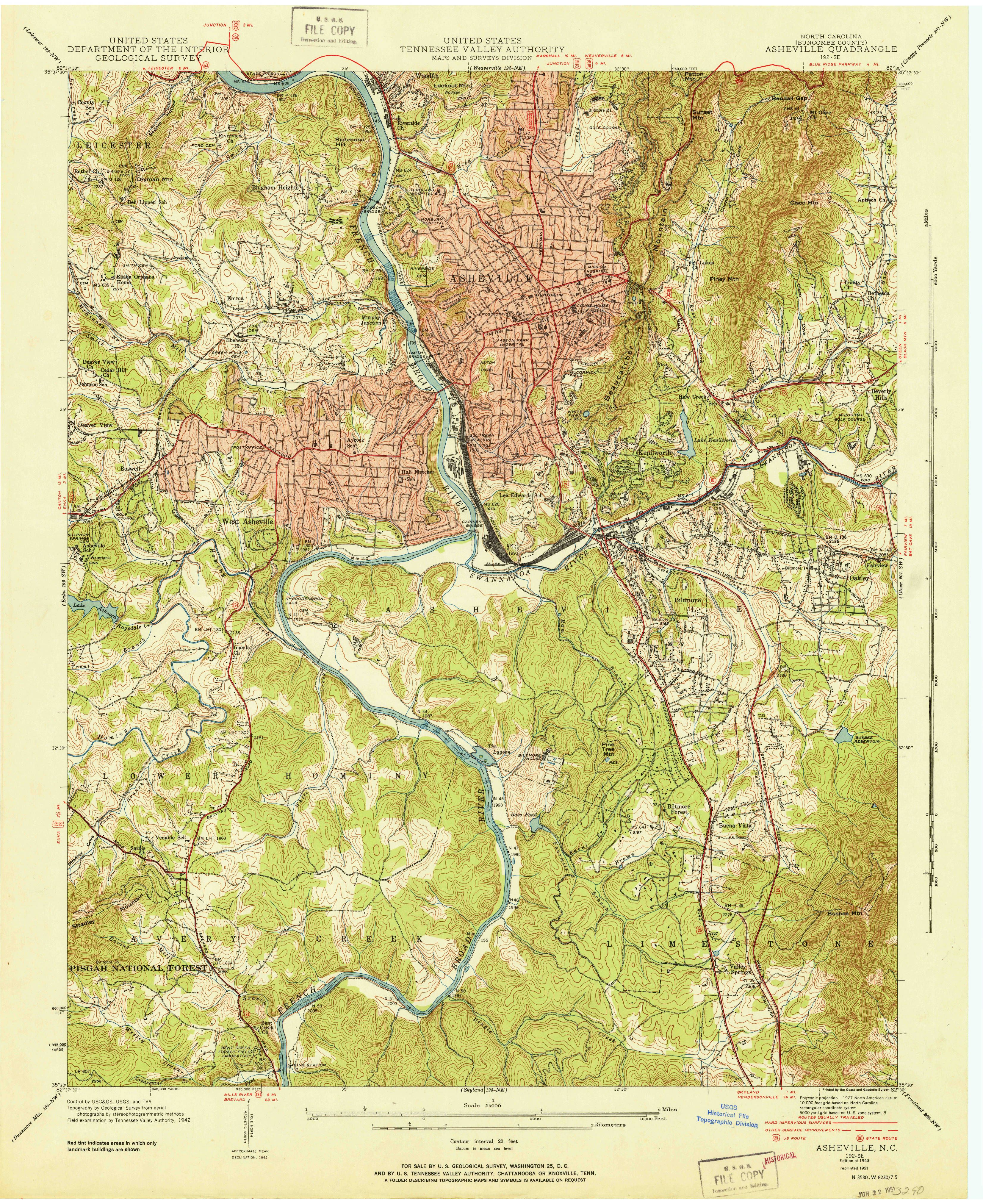 Asheville, NC—1943. Map from the USGS Historical Topographic Map on