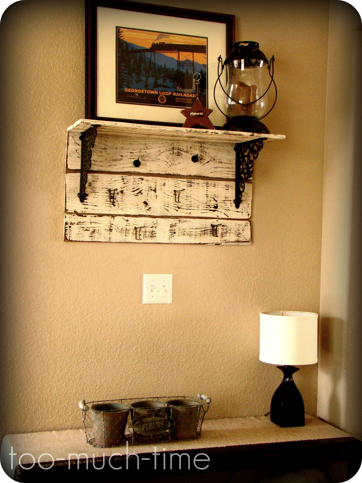 i like the pallette wood below the shelf to help distract from the ...