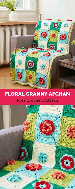 FLORAL GRANNY CROCHET AFGHAN [ FREE CROCHET PATTERN | Crochet DIY ...
