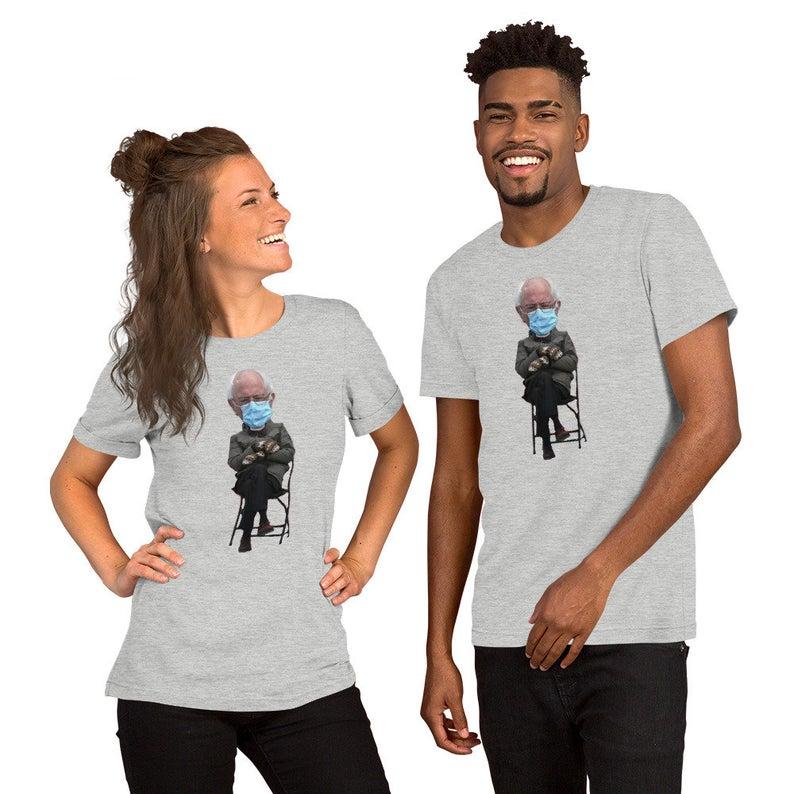 Unimpressed Bernie Sanders Meme Inauguration Mittens Short Sleeve Unisex Tee Shirt Cheerlis Trong 2021