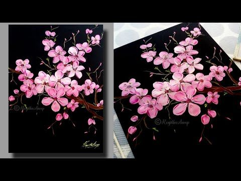 Step By Step Acrylic Painting Cherry Blossom For Beginners Tree Of Blossom Cherry Blossom Painting Acrylic Cherry Blossom Painting Simple Acrylic Paintings