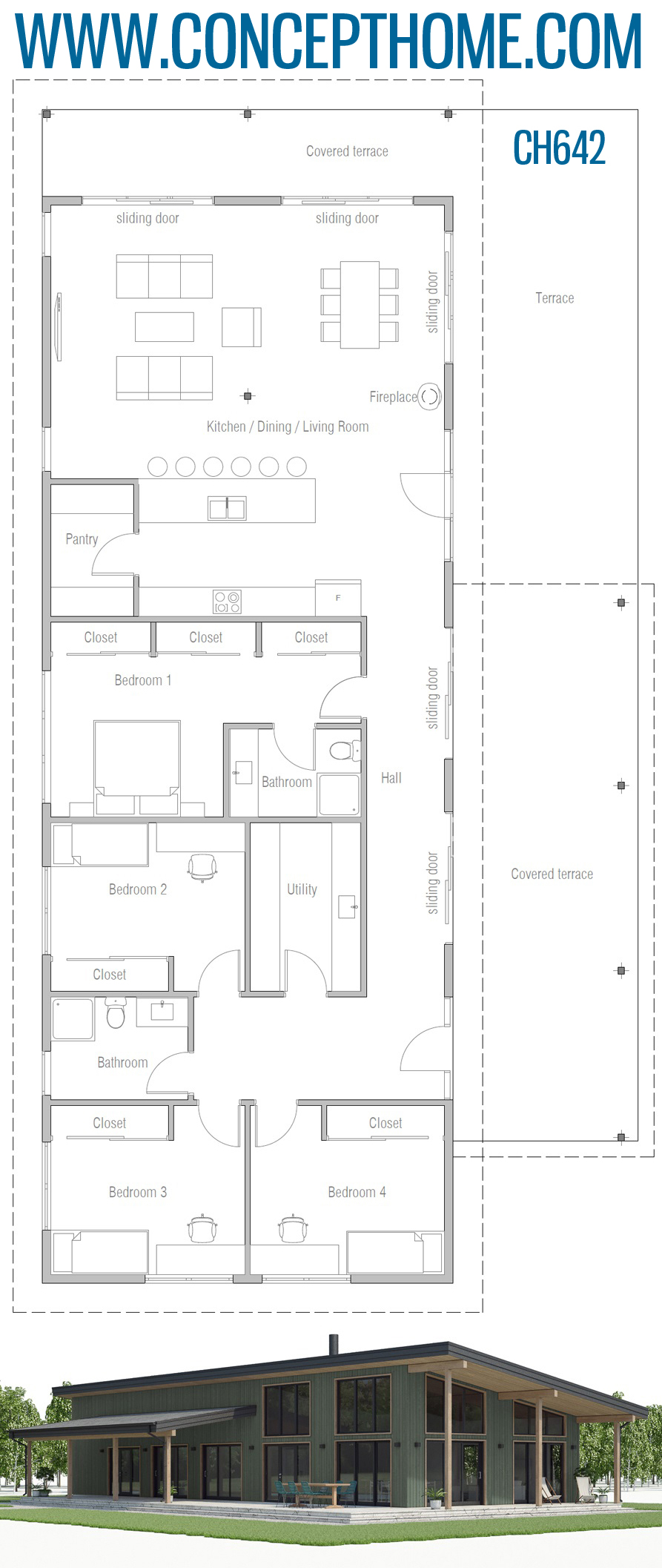 Architectural Design Ch635 In 2020 Bungalow House Design