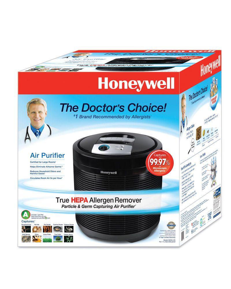 HEPA Air Purifier Black Honeywell 3 cleaning settings