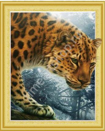 Леопард на охоте, картина раскраска по номерам, на ...