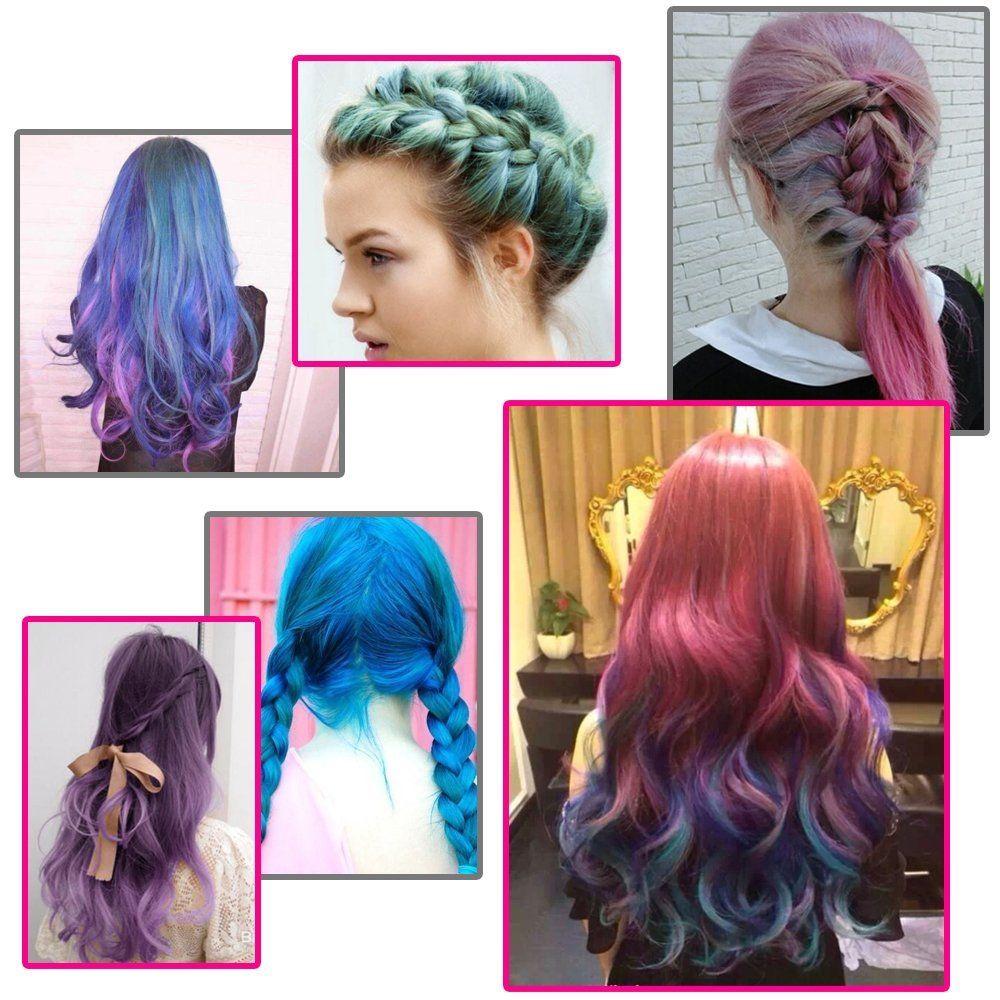 Elera Hair Color Chalk Set Washable Temporary Hair Dye Chalk Rainbow ...