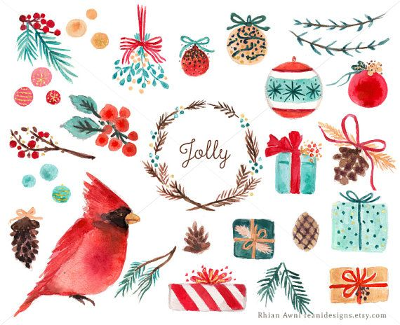 Watercolor Holiday Christmas Clip Art Tree Branch Balls