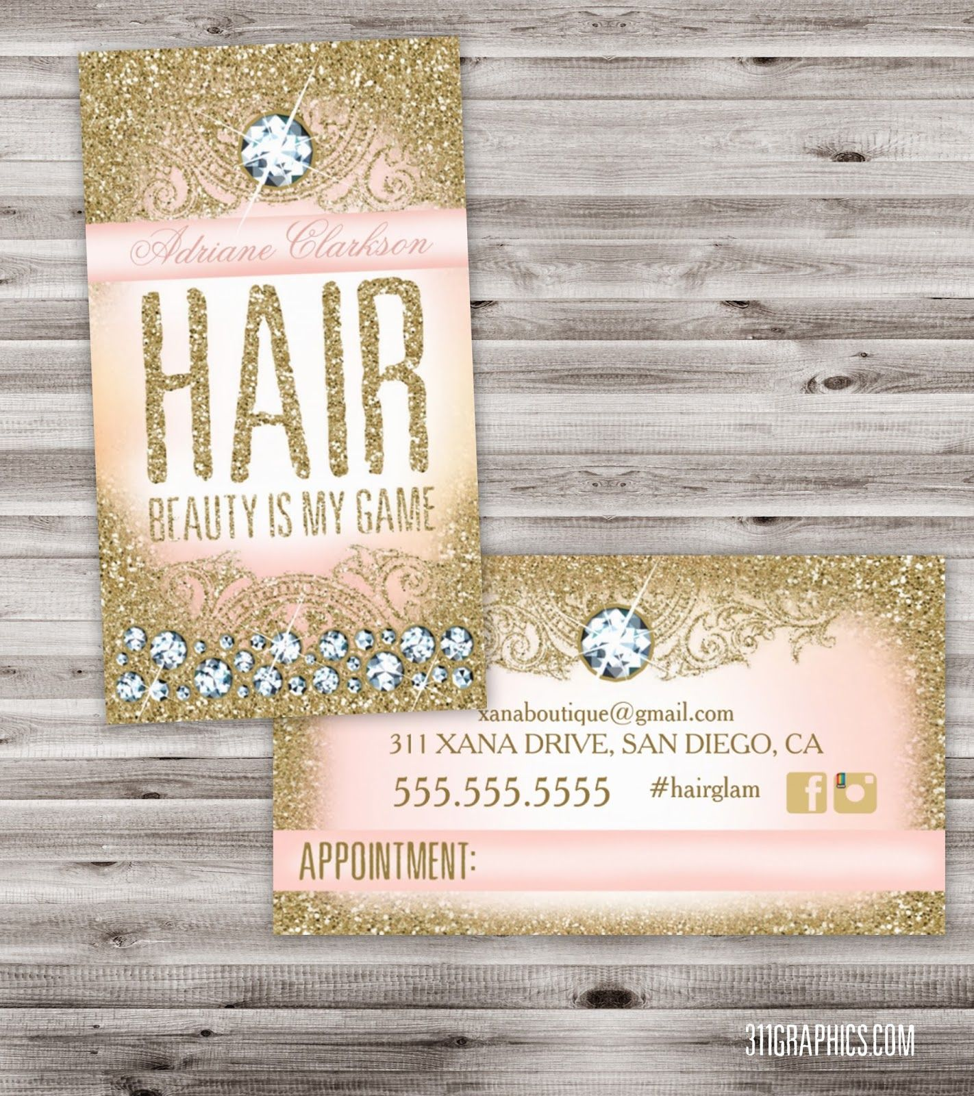 Glitter Glam Hair Appointment Card, upscale, glitzy, glamorous ...