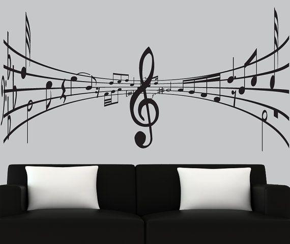 Modern vinyl wall decal 3d music notes decal black ...
