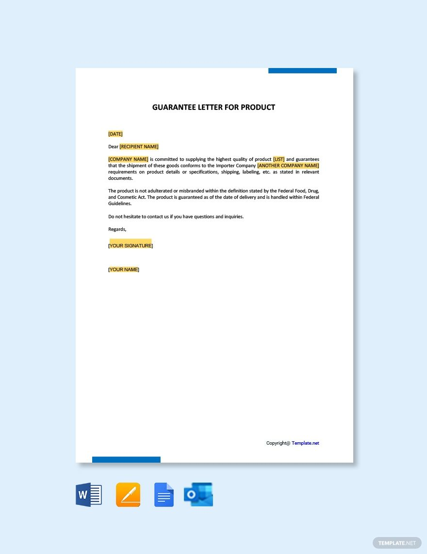 Free Guarantee Letter Template For Product Word Doc Apple Mac Pages Google Docs Lettering Words Template Printable