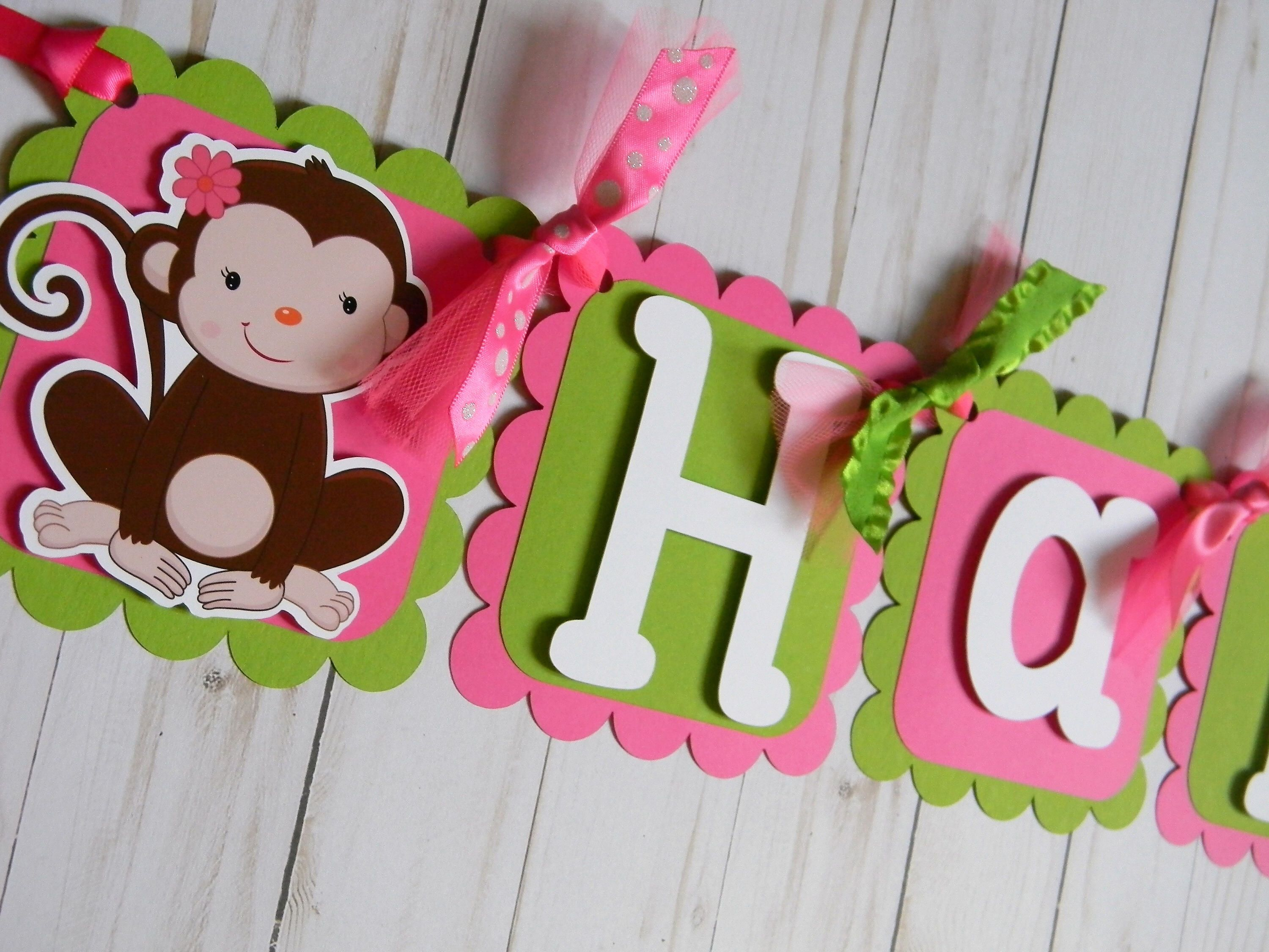 Monkey Birthday Banner Monkey Party Decorations Monkey Pink and