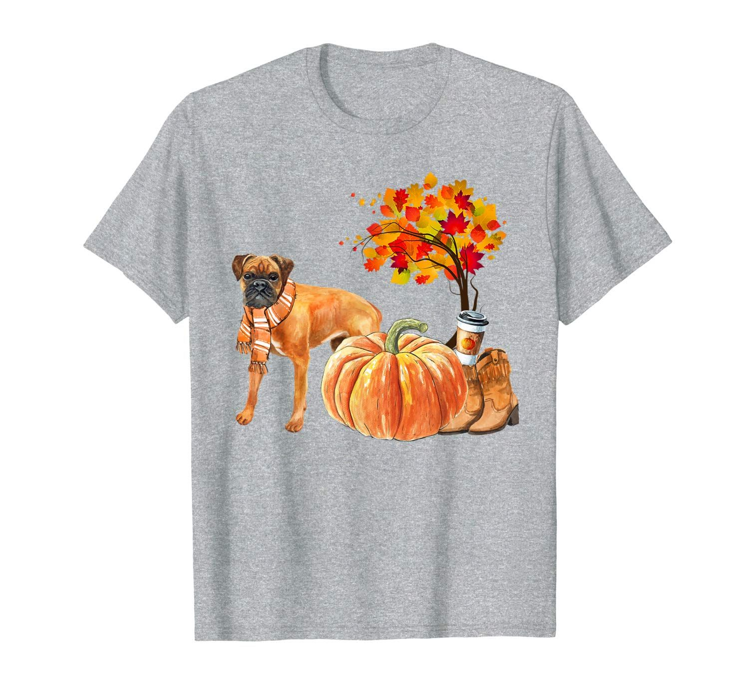 Cute Boxer Dog Scarf Pumpkin Spice Latte Autumn Leaves Fall T-Shirt #autumnleavesfalling