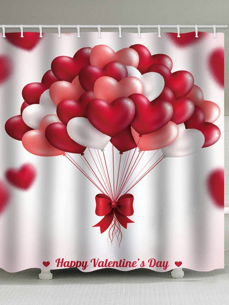 Happy Valentine Heart Balloon Print Waterproof Shower Curtain