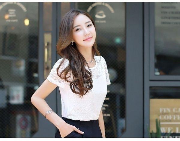 f39cecc2fee Lace Femme Tops Chiffon Short Sleeve Hollow T-shirt