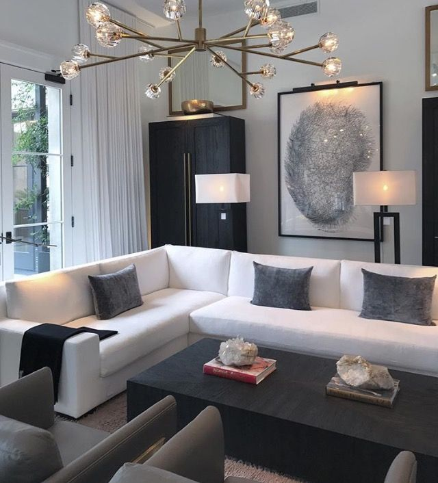 No White Couch But This Is A Cool Look Like The Light Fixture Apartment Interior Design Modern Apartment Decor Apartment Living Room