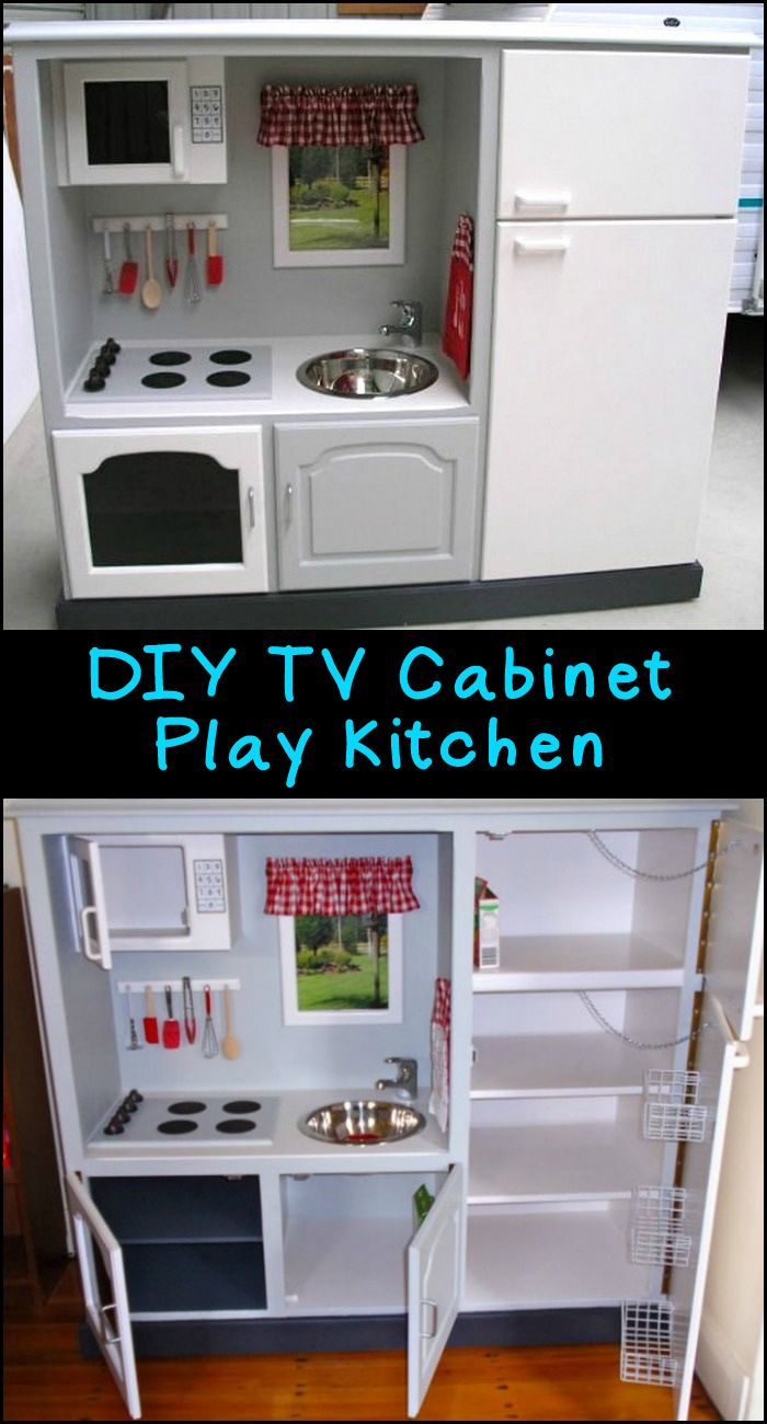Turn An Old Tv Cabinet Into A Play Kitchen Diy Play Kitchen Diy Kids Kitchen Diy Kitchen Furniture