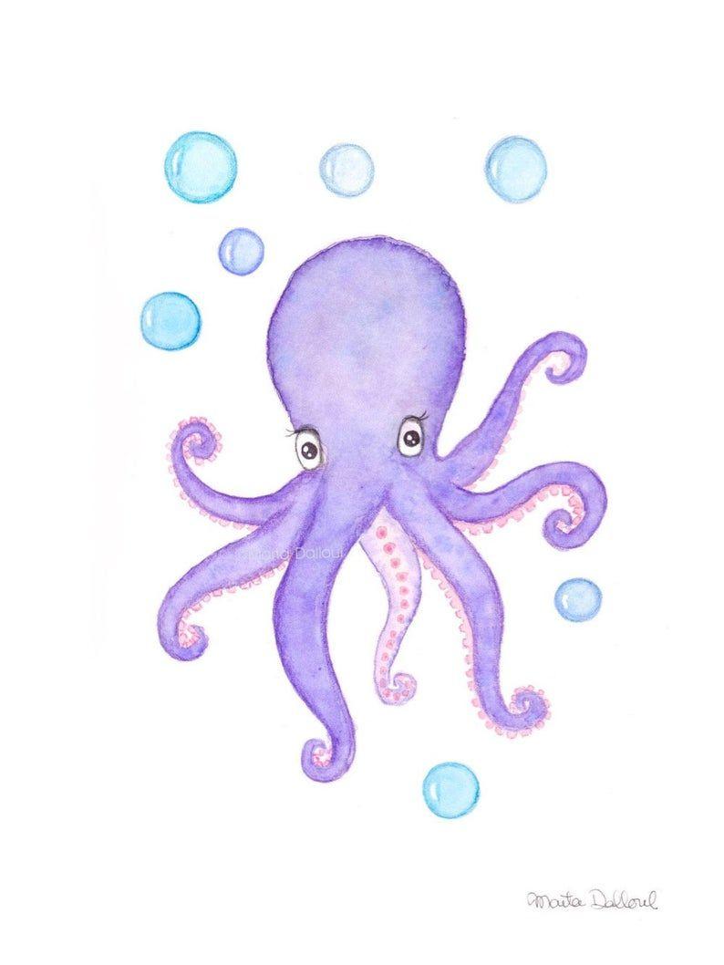 Octopus Art Print Under The Sea Nursery Art Decor Whimsical Etsy In 2020 Ocean Nursery Art Sea Nursery Art Octopus Art Print