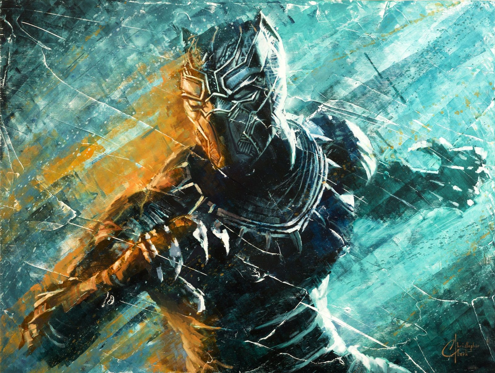 852579af135146 Black Panther by Christopher Clark - Marvel Black Panther Limited Edition  Wall Art from The Incredible Art Gallery