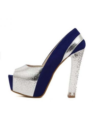25bc2bcb5b17 Navy Blue and Silver Color Blocking Chunky Heel Shoes