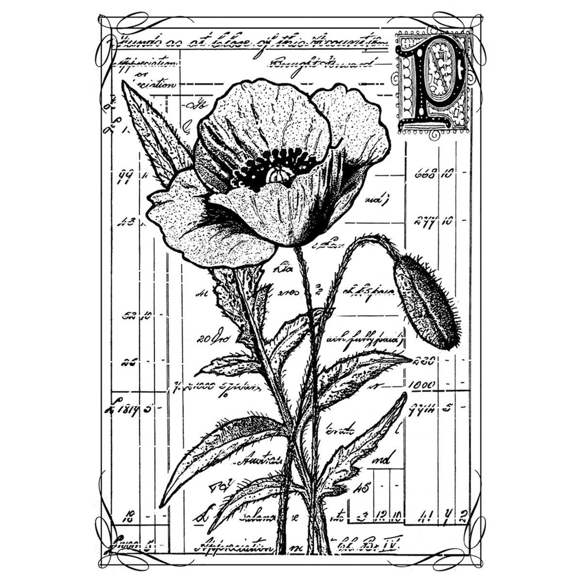 Pret Poppy unmounted Rubber Stp doodle Stamp, Flower