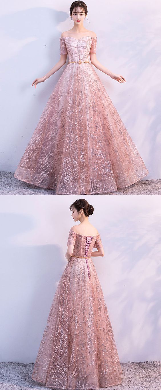Beautiful tulle long prom dress, evening dress,off the shoulder prom ...