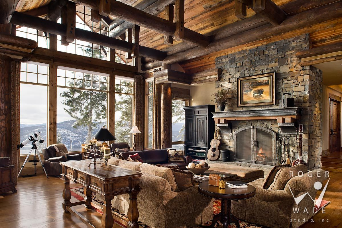 Log Home Photo Great Room Towards Fireplace And Windows
