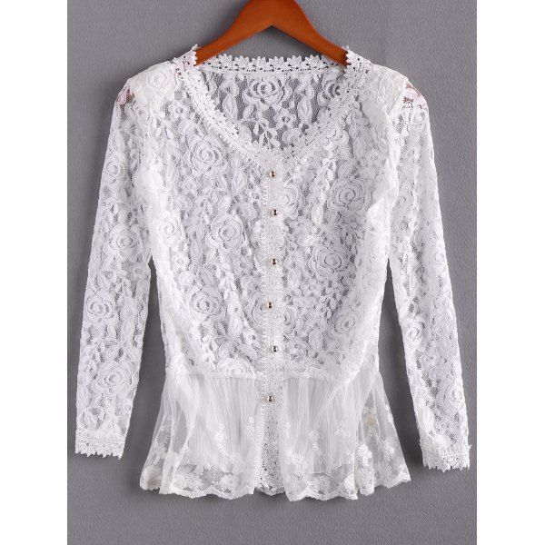 55788fa7b07fb Elegant Openwork Long Sleeves Flouce Lace Women s Blouse - IVORY ONE  SIZE(FIT SIZE XS TO M)