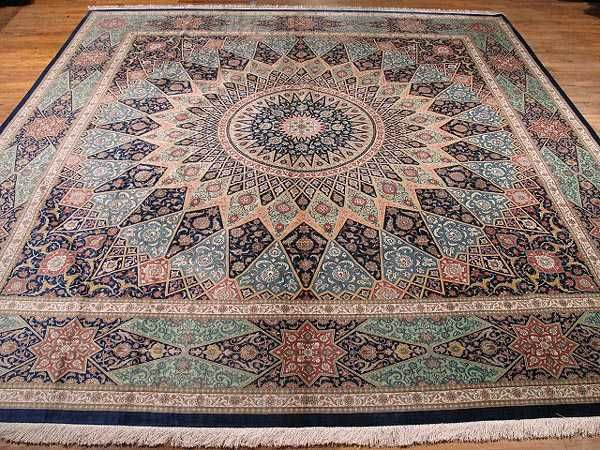 Persian Gonbad Silk Quom Carpet | 9'7'' X 9'7'' Silk Quom Fine Gonbad Rug | SIL1098