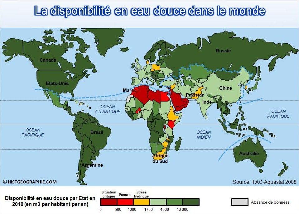 Carte De L Inegale Disponibilite En Eau Douce Par Etat Dans Le