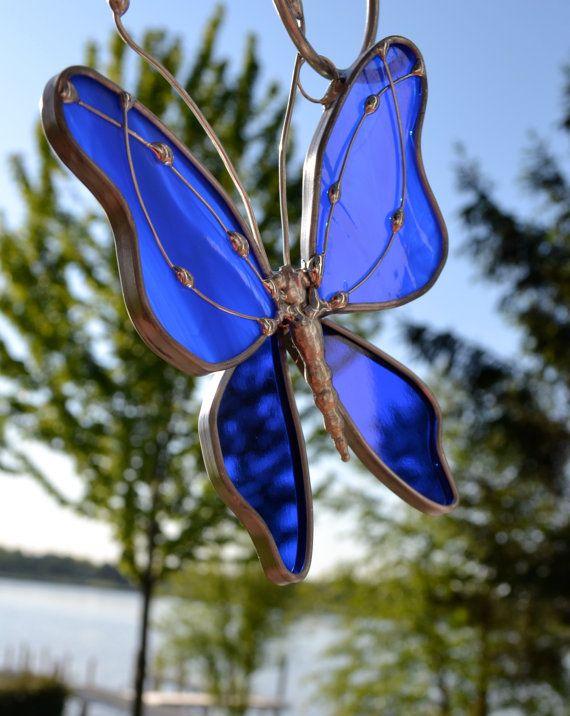 Mariposa azul Royal vidrieras por dortdesigns en Etsy, $13.25
