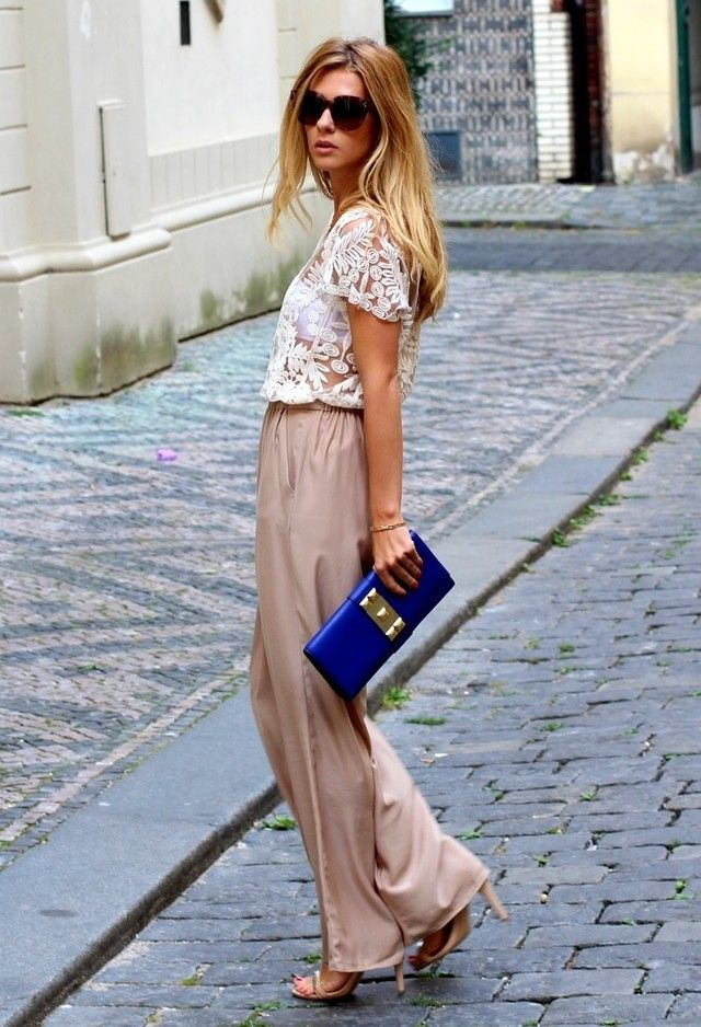 501cad445b1e 15 Trendy Street Style Outfits With Palazzo Pants Stile Dell ospite Diun  Matrimonio