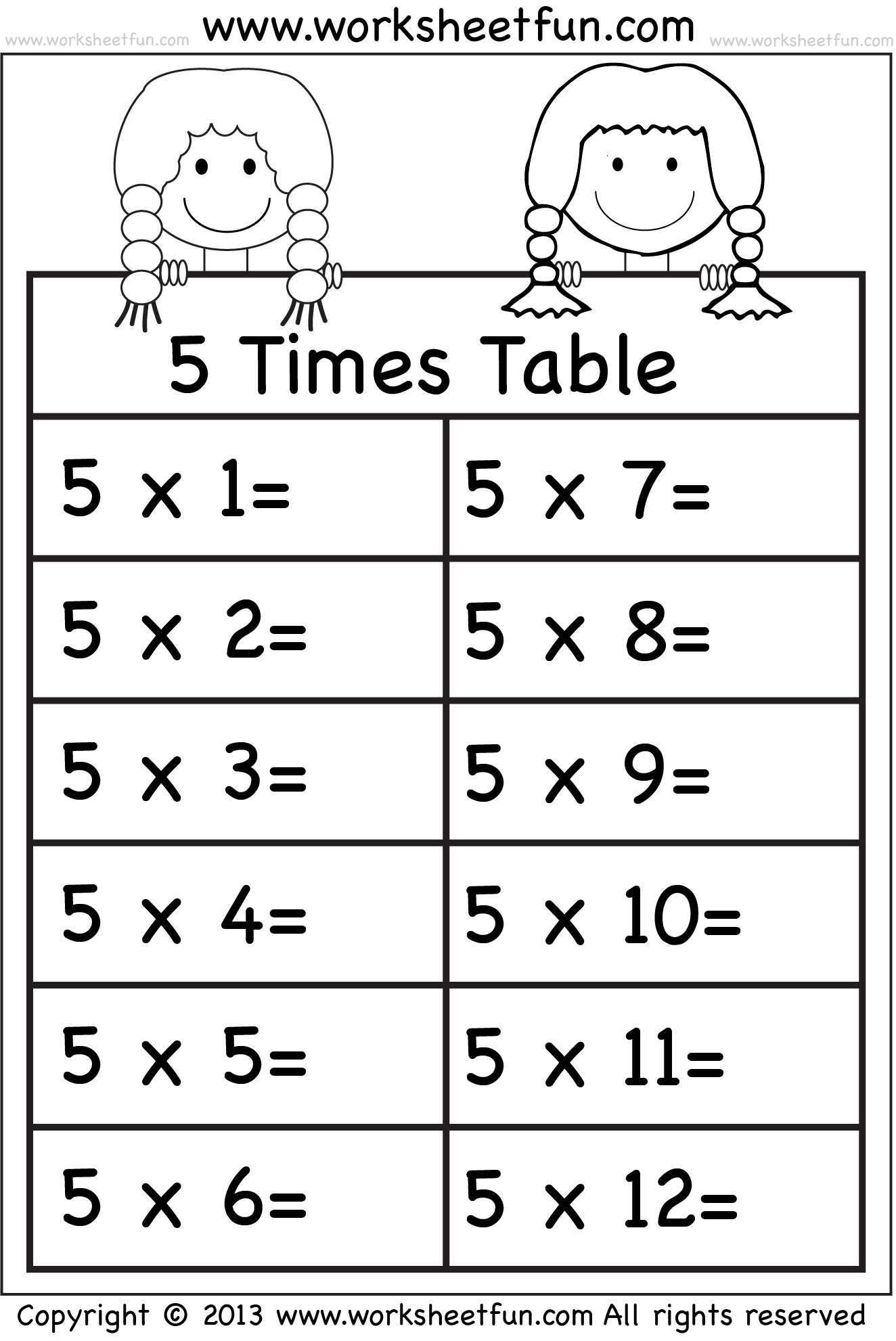 worksheet 5 Times Tables Worksheet 5 kez tablo math matematik pinterest times tables worksheets 11 and 12 eleven free printable worksheets