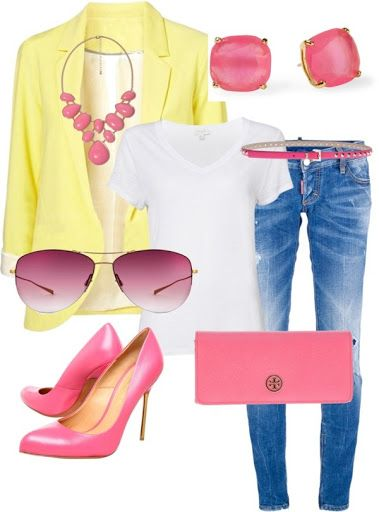 Great color combo for Spring :) Pinner says yellow  coral but it sure looks yellow and pink to me. Pretty either way. by karenamber on Polyvore?
