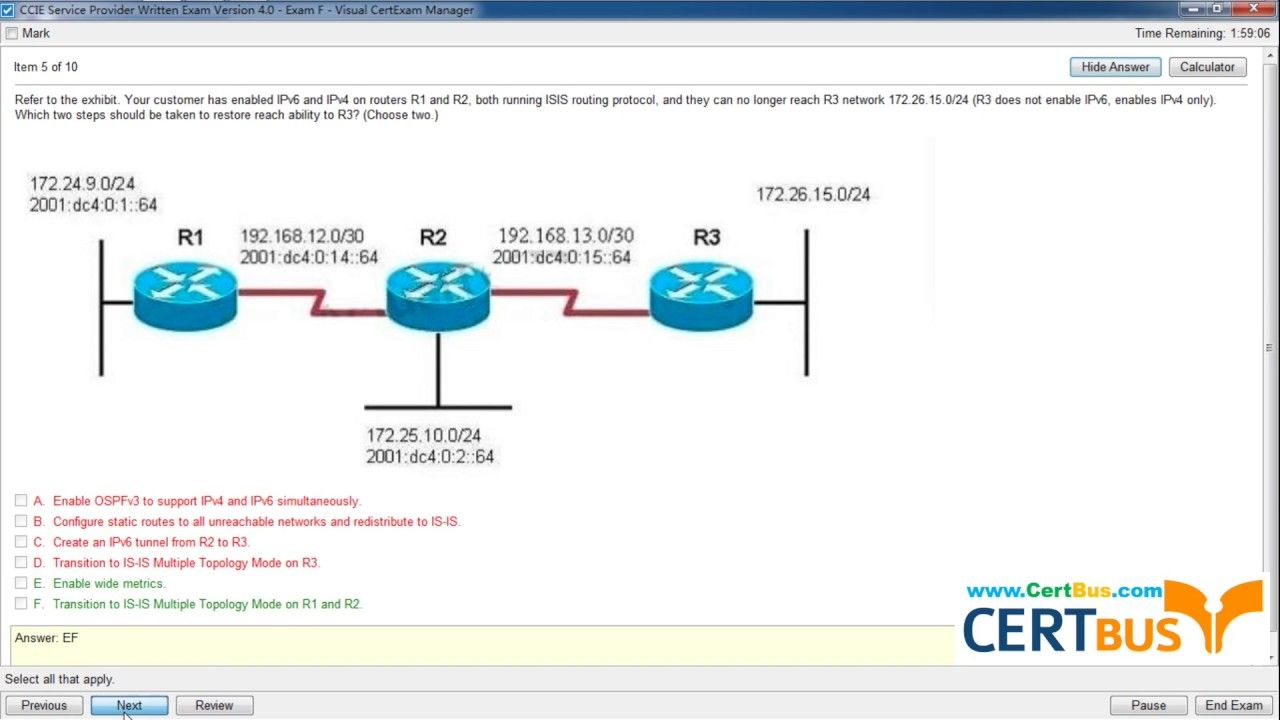 Title Pass 400 201 Exam By Practicing Certbus Latest Cisco 400 201