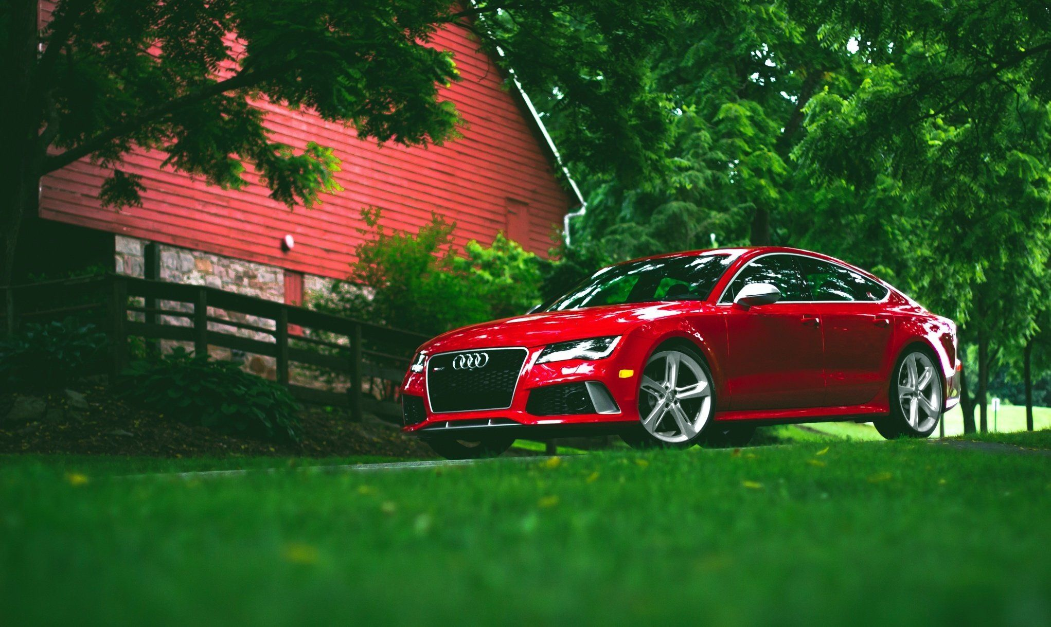 Audi Rs 7 On The Lawn Near The House Red Audi Audi Car Models Audi