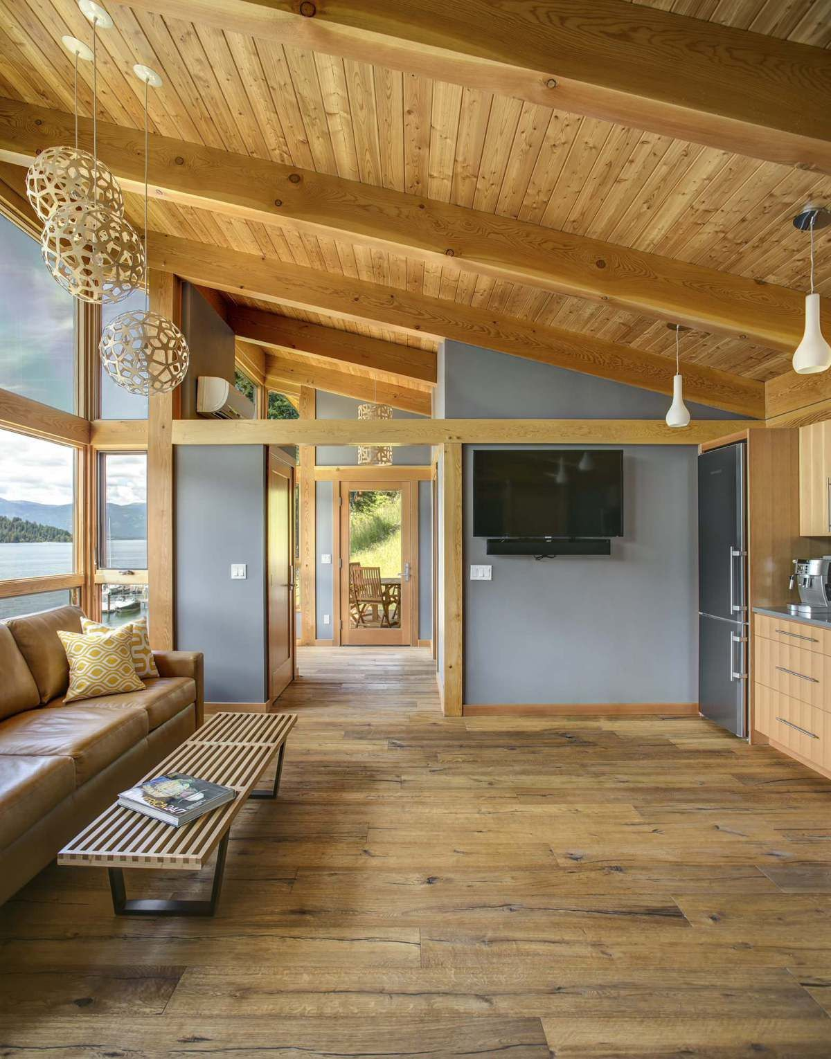 This timber framed cabin has modern lines and an energy for Energy efficient cabin