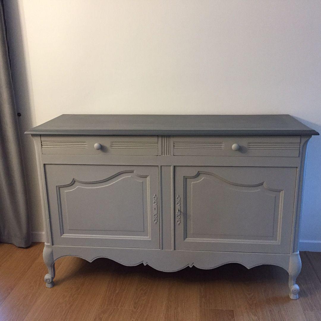 2 meubles termin s hier peints et non patin s selon le d sir de l cliente un gris tr s - Meubles peints patines ...